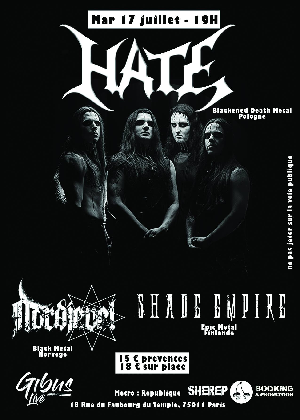 Hate / Shade Empire / Nordjevel – Paris